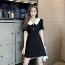 Dress Summer 2021 black S,M,L,XL Short skirt singleton  Short sleeve commute Doll Collar High waist Solid color Socket A-line skirt routine Others 18-24 years old Type A Other / other Korean version Button 31% (inclusive) - 50% (inclusive) other polyester fiber