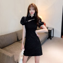 Dress Summer 2021 Black, white S,M,L,XL Short skirt singleton  Short sleeve commute stand collar High waist Solid color Socket A-line skirt puff sleeve Others 18-24 years old Type A Korean version Bowknot, hollow out, zipper