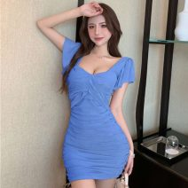 Dress Summer 2021 Khaki, white, blue, black S, M Short skirt singleton  Short sleeve commute V-neck High waist Solid color Socket routine 18-24 years old H.4.16 51% (inclusive) - 70% (inclusive) organza  nylon