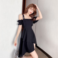 Dress Summer 2021 black S,M,L,XL,2XL Short skirt singleton  Short sleeve commute One word collar High waist Solid color zipper Irregular skirt routine camisole 18-24 years old Type A Other / other Korean version Auricularia auricula, asymmetric w3.2 Chiffon other