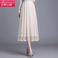 skirt Spring 2021 Average size Apricot Grey Black Pink Mid length dress commute High waist A-line skirt Solid color Type A A20CQ3038 other Islander Pleated mesh stitching lace Korean version Pure e-commerce (online only) 161g / m ^ 2 (including) - 180g / m ^ 2 (including)