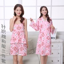 Pajamas / housewear set female Other / other S-158c-163cm / 98-115kg, m-160c-165cm / 116-120kg, l-163c-170cm / 120-135kg Knitted cotton - three piece blue rabbit, knitted cotton - Three Piece Pink Rabbit cotton three quarter sleeve sexy Leisure home spring Thin money Cartoon animation trousers Tether