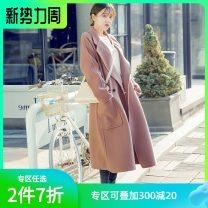 woolen coat Autumn 2020 S,M,L Camel, apricot pink wool 95% and above Medium length Long sleeves commute other routine tailored collar Solid color Straight cylinder Korean version NH9923 Hstyle / handu clothing house 18-24 years old