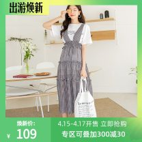 Dress Summer 2021 grey S,M,L longuette singleton  Sleeveless commute middle-waisted lattice A-line skirt straps 18-24 years old Hstyle / handu clothing house Korean version Lace up, stitching, strap OM90122