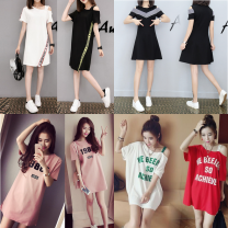 Dress Summer of 2019 M,L,XL,2XL,3XL Mid length dress singleton  Short sleeve commute Socket other 18-24 years old 30% and below cotton