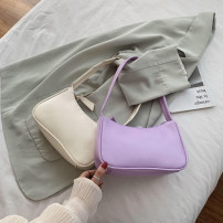 Bag The single shoulder bag PU baguette  brand new Fashion trend Small leisure time soft zipper no Solid color Single root One shoulder hand nothing youth Pillow shape Soft handle polyester fiber soft surface