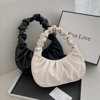 Bag The single shoulder bag PU Fold package brand new Fashion trend Small leisure time soft Magnetic buckle no Solid color Single root One shoulder hand nothing youth Conchoidal fold Soft handle polyester fiber soft surface