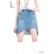 skirt Summer 2020 4 / S-M stock, 6 / M-L stock As shown in the picture Short skirt Natural waist Denim skirt Solid color Type A More than 95% Denim Artists of tomorrow cotton