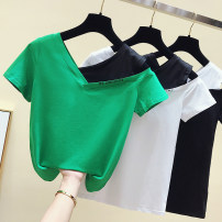 T-shirt White, green, black S,M,L,XL,2XL Summer of 2019 Short sleeve V-neck Self cultivation Regular routine commute cotton 86% (inclusive) -95% (inclusive) 18-24 years old Korean version youth Letters, color matching Other / other Print, open back