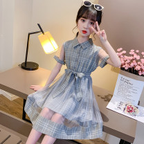 Dress princess lattice Short sleeve Chinese Mainland female Other / other 7, 8, 14, 3, 6, 13, 11, 5, 4, 10, 9, 12 A-line skirt cotton Cotton 80% others 20% summer Khaki, haze blue 110cm,120cm,130cm,140cm,150cm,160cm