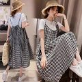 Dress Other / other T-shirt + Plaid strap skirt M,L,XL,XXL Korean version Short sleeve Medium length summer Crew neck lattice Pure cotton (95% and above) 8987#