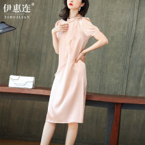 Dress Summer 2020 Royal blue pink sky blue M L XL XXL Mid length dress singleton  Short sleeve commute Crew neck middle-waisted Solid color Socket A-line skirt routine Others 30-34 years old Type H Yihl / yihuilian Button with lotus leaf and Auricularia auricula ASE6638 silk