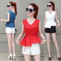 Lace / Chiffon Summer 2020 White, blue, red S,M,L,XL,2XL Sleeveless commute Socket singleton  Self cultivation have cash less than that is registered in the accounts V-neck Solid color routine 25-29 years old Tie, thread Korean version