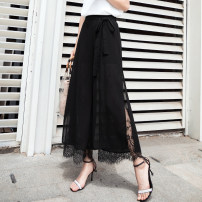 Casual pants black S,M,L,XL,2XL Spring 2021 Ninth pants Wide leg pants High waist commute Thin money 18-24 years old 96% and above Y-31 Cotton blended fabric Korean version Collage polyester fiber Asymmetry
