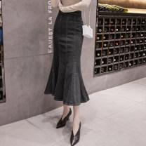 skirt Spring 2021 S,M,L,XL,2XL,3XL Blue, black Mid length dress Versatile High waist skirt Solid color Type A 18-24 years old Denim cotton Ruffles, zippers
