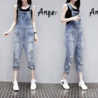 Jeans Spring 2021 blue XS,S,M,L,XL,2XL Ninth pants Natural waist rompers routine 18-24 years old Cotton denim light colour 81% (inclusive) - 90% (inclusive)