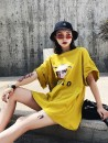 T-shirt yellow Average size Summer of 2018 Short sleeve Crew neck easy Medium length routine commute cotton 86% (inclusive) -95% (inclusive) 18-24 years old Korean version originality character