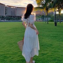 Dress Summer 2021 white S,M,L,XL Mid length dress Short sleeve commute square neck Solid color A-line skirt puff sleeve Others 18-24 years old Other / other Retro Bow, open back
