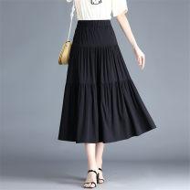 skirt Summer 2021 M,L,XL,2XL,3XL,4XL black Middle-skirt Versatile Natural waist Solid color Type A Jasper rose