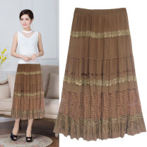 skirt Summer of 2019 Average size Black, coffee, khaki Mid length dress Versatile Natural waist Splicing style Solid color Type A 31% (inclusive) - 50% (inclusive) other Jasper rose polyester fiber