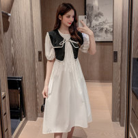 Dress Summer 2021 White, blue S,M,L,XL longuette singleton  Short sleeve commute square neck High waist Solid color Socket Princess Dress puff sleeve straps 25-29 years old Type A Korean version 31% (inclusive) - 50% (inclusive) knitting polyester fiber