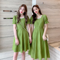 Dress Summer 2021 S,M,L,XL Mid length dress singleton  Short sleeve commute Crew neck High waist other other 18-24 years old Type A Korean version Splicing, resin fixation