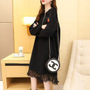 Dress Autumn 2020 Black gray pink black tmall quality gray tmall quality pink tmall quality Average size Mid length dress singleton  Long sleeves commute Polo collar Loose waist Socket A-line skirt routine 18-24 years old Style wardrobe / style wardrobe Korean version Splicing gdyc2003366 cotton