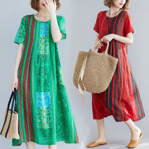 Women's large Summer 2021 Red, green M [100-110kg], l [110-130kg], XL [130-140kg], XXL [140-160kg] Dress singleton  commute easy thin Socket Short sleeve stripe ethnic style Crew neck Medium length Cotton, hemp printing and dyeing 30-34 years old 71% (inclusive) - 80% (inclusive) longuette
