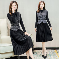 Dress Autumn 2020 Black and white M L XL 2XL 3XL 4XL Mid length dress Two piece set Long sleeves commute tailored collar High waist lattice Socket A-line skirt routine Others 35-39 years old Type A Osaya Korean version Tie button More than 95% other polyester fiber Other polyester 95% 5%