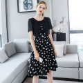 Women's large Summer 2020 Black spot black pre-sale (delivery within 15 days after payment) L XL 2XL 3XL 4XL 5XL Dress singleton  street easy moderate Socket Short sleeve Decor Crew neck Three dimensional cutting routine SZ22XLA5365-2 Extravagant posture 25-29 years old zipper 96% and above