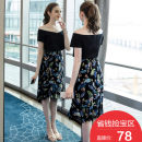 Women's large Summer 2020 Black spot L XL 2XL 3XL 4XL 5XL Other oversize styles Two piece set street easy moderate Short sleeve Solid color One word collar routine Cotton others Three dimensional cutting Extravagant posture 25-29 years old 91% (inclusive) - 95% (inclusive) Medium length other