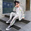 suit Baby & HH / baby Hengheng Black grey 100cm 110cm 120cm 130cm 140cm 150cm 160cm male spring and autumn Korean version Two piece set 2 pieces routine There are models in the real shooting Zipper shirt nothing Solid color other children Learning reward K211TZ302-2 Class C Spring 2021