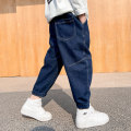 trousers Baby & HH / baby Hengheng male 100cm 110cm 120cm 130cm 140cm 150cm 160cm blue spring and autumn Ninth pants Korean version There are models in the real shooting Jeans Leather belt middle-waisted Cotton elastic denim Don't open the crotch Cotton 84.5% viscose (viscose) 11.2% polyester 4.3%