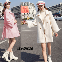 Dress / evening wear Wedding, adulthood, party, company annual meeting, performance, routine, appointment S,M,L,XL,3XL,2XL Pink, beige Korean version Medium length Winter 2020 square neck Bandage polyester 18-25 years old Nine point sleeve Solid color Other / other