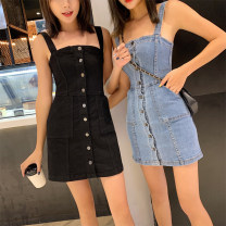 Dress Summer 2020 Black, denim S,M,L,XL,2XL longuette singleton  Sleeveless Sweet square neck High waist Solid color Single breasted One pace skirt routine camisole 18-24 years old Type X Other / other Button, bow 31% (inclusive) - 50% (inclusive) Denim cotton college