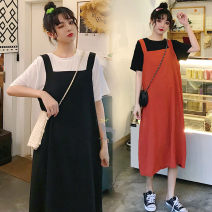 Dress Summer 2020 White T-shirt + black skirt [two piece set] black T-shirt + orange skirt [two piece set] L XL XXL XXL enlarge XXXL Miniskirt Short sleeve Crew neck Solid color 18-24 years old Paulie Jennie hk0ZbW More than 95% other Triacetate fiber (triacetate fiber) 100%