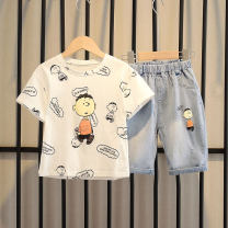suit Other / other 90cm,100cm,110cm,120cm,130cm,140cm,150cm,160cm male summer leisure time Short sleeve + pants 2 pieces Thin money No model Socket nothing children Expression of love 2, 3, 4, 5, 6, 7, 8, 9, 10 years old