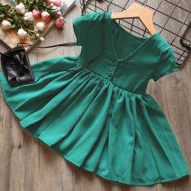 Dress Red, green female Other / other 7(100cm),9(110cm),11(120cm),13(130cm),15(140cm) Other 100% summer Korean version Short sleeve Solid color other other F0824 2 years old, 3 years old, 4 years old, 5 years old, 6 years old