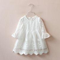 Dress white female Other / other 7(100cm),9(110cm),11(120cm),13(130cm),15(140cm) Other 100% summer Korean version Solid color blending other F0102 2 years old, 3 years old, 4 years old, 5 years old, 6 years old
