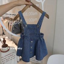 skirt 80cm,90cm,100cm,110cm,120cm blue Other / other female Cotton 95% other 5% summer skirt Korean version Solid color Strapless skirt Cotton denim Q038