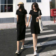 Dress Summer 2020 S,M,L,XL Mid length dress singleton  Short sleeve commute Crew neck High waist Solid color Socket A-line skirt routine Others 25-29 years old Type A Other / other Korean version knitting