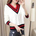 sweater Fall 2017 XLSML 19206 red 19206 yellow white black red Long sleeves Socket singleton  Regular V-neck Regular commute routine Solid color Straight cylinder Regular wool Keep warm and warm 18-24 years old Lucky e DC1719016 Contrast stitching thread acrylic fibres Pure e-commerce (online only)