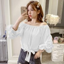 shirt White, red, yellow, black S,M,L,XL Spring 2021 cotton 96% and above elbow sleeve commute Regular One word collar Socket routine Solid color 18-24 years old Straight cylinder fungus Chiffon