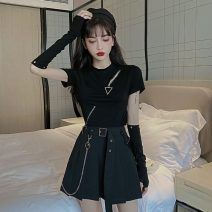 Fashion suit Spring 2021 S,M,L Black T-shirt, skirt, gloves 18-25 years old cotton