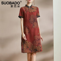 Middle aged and old women's wear Summer 2021 Silk dress 20275-1 red L XL XXL XXXL ethnic style Dress easy singleton  Decor 40-49 years old Cardigan thin stand collar Medium length routine A1SQS20275 Suobado / sorbado silk Mulberry silk 100% 96% and above zipper Medium length real silk other