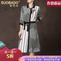 Dress Spring 2020 Silk dress 95129 black and white L XL XXL Mid length dress singleton  three quarter sleeve commute Polo collar stripe Single breasted A-line skirt shirt sleeve 30-34 years old Type A Suobado / sorbado Simplicity Lace up button A1SQS95129 More than 95% Crepe de Chine silk