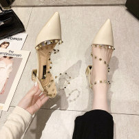 Sandals 34,35,36,37,38,39 PU Other / other Baotou Thick heel Low heel (1-3cm) Summer 2021 Flat buckle Korean version Solid color Adhesive shoes Youth (18-40 years old) rubber daily Bag heel Buckles, rivets, thick heels Low Gang Hollow PU PU Flat buckle Shaving
