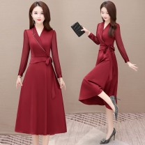 Dress Winter 2016 Red, black S,M,L,XL,2XL,3XL,4XL longuette singleton  Long sleeves commute V-neck High waist Solid color Socket A-line skirt routine Others 35-39 years old Type A Korean version Bowknot, stitching 91% (inclusive) - 95% (inclusive) polyester fiber