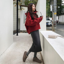Women's large Winter of 2019, autumn of 2019 Dress Two piece set commute Straight cylinder thick Socket Long sleeves Solid color Hood routine Polyester, cotton, others Three dimensional cutting routine Bandage 81% (inclusive) - 90% (inclusive) Medium length Pencil skirt