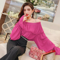 Lace / Chiffon Spring 2021 Rose Pink Average size Long sleeves commute Socket singleton  Straight cylinder Regular One word collar Solid color pagoda sleeve 30-34 years old MISS FLY PERSONAL TAILOR S201476 fold Korean version 31% (inclusive) - 50% (inclusive)